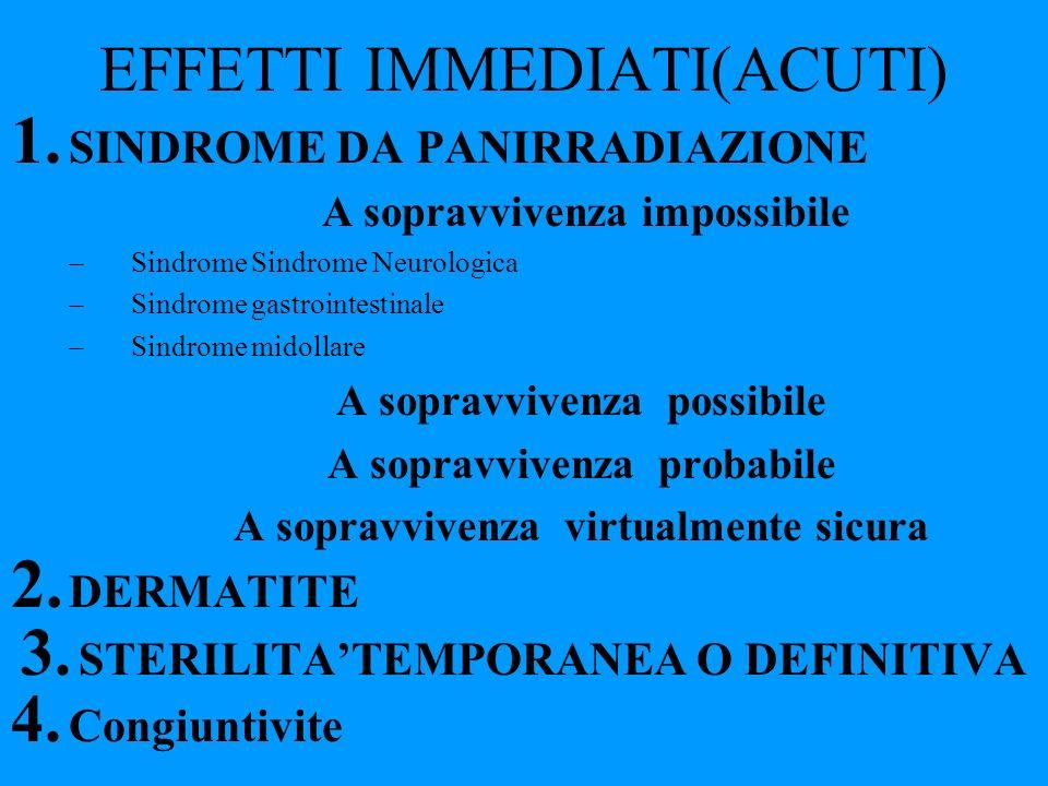 EFFETTI IMMEDIATI(ACUTI) 1. SINDROME DA PANIRRADIAZIONE A sopravvivenza impossibile –Sindrome Sindrome Neurologica –Sindrome gastrointestinale –Sindro