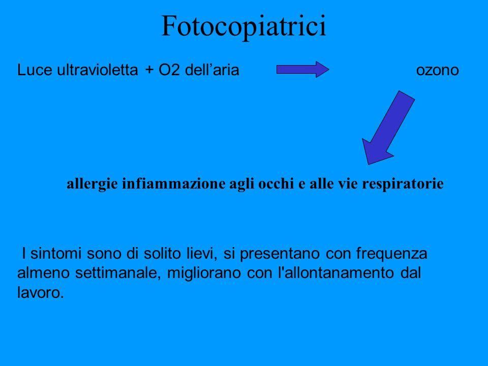 Fotocopiatrici Luce ultravioletta + O2 dellaria ozono allergie infiammazione agli occhi e alle vie respiratorie I sintomi sono di solito lievi, si pre