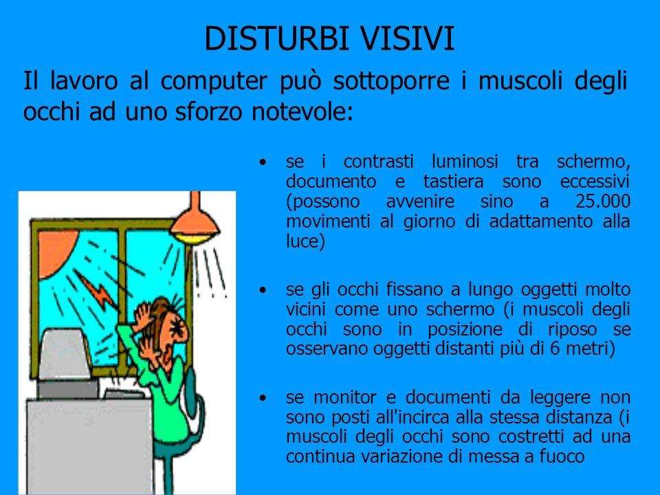 DISTURBI VISIVI se i contrasti luminosi tra schermo, documento e tastiera sono eccessivi (possono avvenire sino a 25.000 movimenti al giorno di adatta