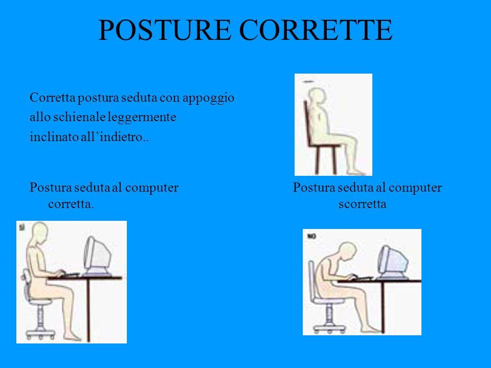 POSTURE CORRETTE Corretta postura seduta con appoggio allo schienale leggermente inclinato allindietro.. Postura seduta al computer Postura seduta al