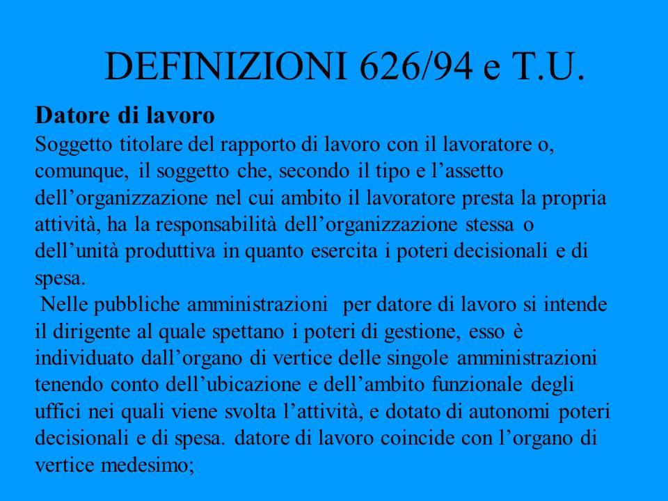 DEFINIZIONI 626/94 e T.U. Datore di lavoro Soggetto titolare del rapporto di lavoro con il lavoratore o, comunque, il soggetto che, secondo il tipo e