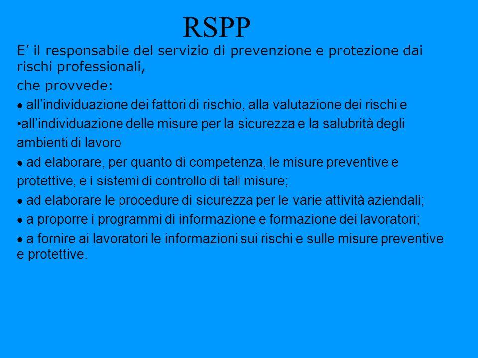 RSPP E il responsabile del servizio di prevenzione e protezione dai rischi professionali, che provvede: allindividuazione dei fattori di rischio, alla