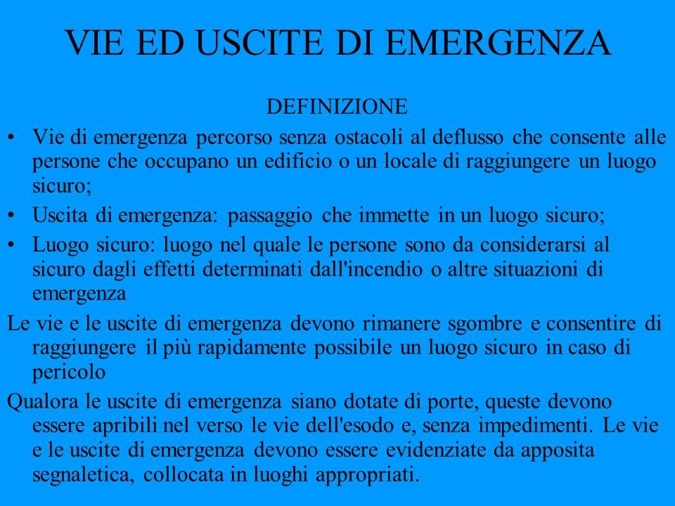 VIE ED USCITE DI EMERGENZA DEFINIZIONE Vie di emergenza percorso senza ostacoli al deflusso che consente alle persone che occupano un edificio o un lo