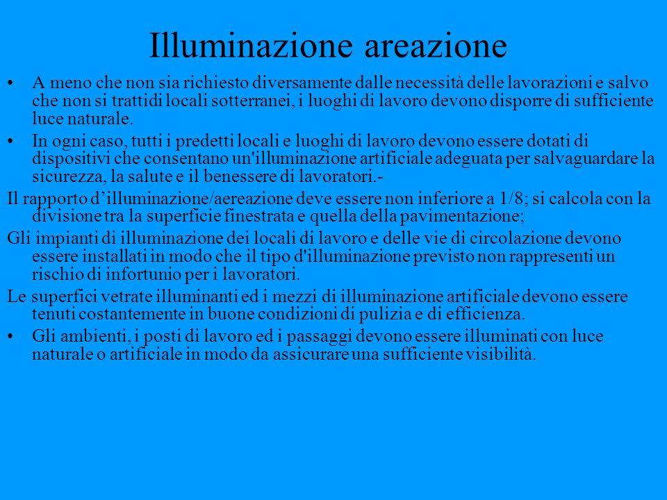 Illuminazione areazione A meno che non sia richiesto diversamente dalle necessità delle lavorazioni e salvo che non si trattidi locali sotterranei, i