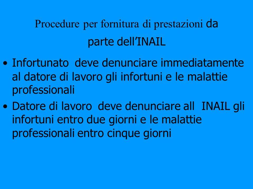 Procedure per fornitura di prestazioni da parte dellINAIL Infortunato deve denunciare immediatamente al datore di lavoro gli infortuni e le malattie p