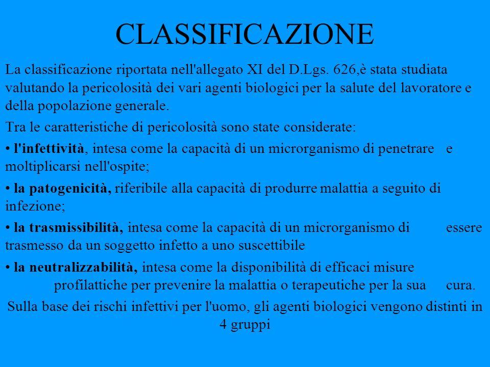 CLASSIFICAZIONE La classificazione riportata nell'allegato XI del D.Lgs. 626,è stata studiata valutando la pericolosità dei vari agenti biologici per