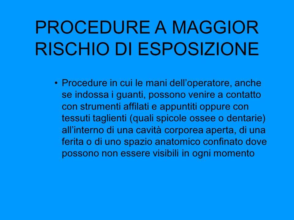 PROCEDURE A MAGGIOR RISCHIO DI ESPOSIZIONE Procedure in cui le mani delloperatore, anche se indossa i guanti, possono venire a contatto con strumenti