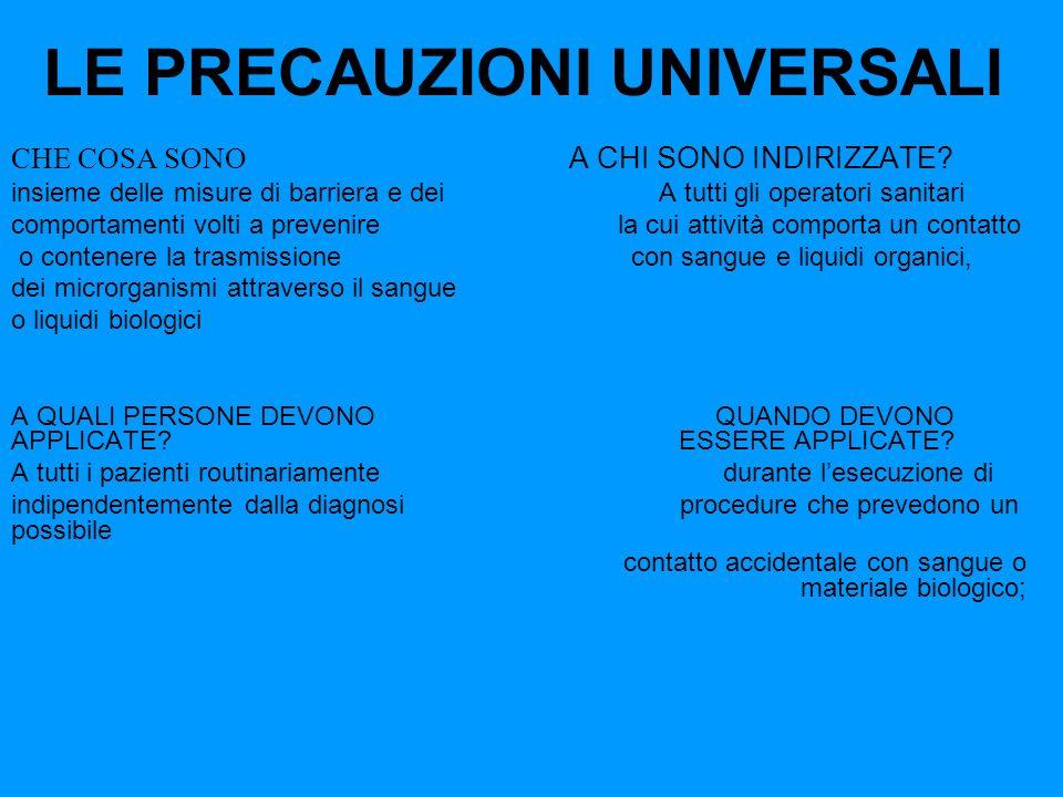 LE PRECAUZIONI UNIVERSALI CHE COSA SONO A CHI SONO INDIRIZZATE? insieme delle misure di barriera e dei A tutti gli operatori sanitari comportamenti vo
