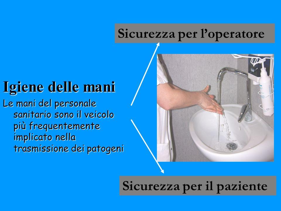 Igiene delle mani Le mani del personale sanitario sono il veicolo più frequentemente implicato nella trasmissione dei patogeni Sicurezza per loperator