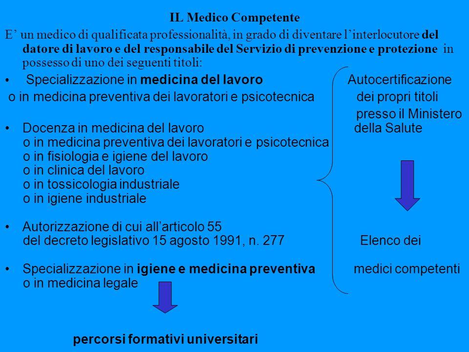 IL Medico Competente E un medico di qualificata professionalità, in grado di diventare linterlocutore del datore di lavoro e del responsabile del Serv