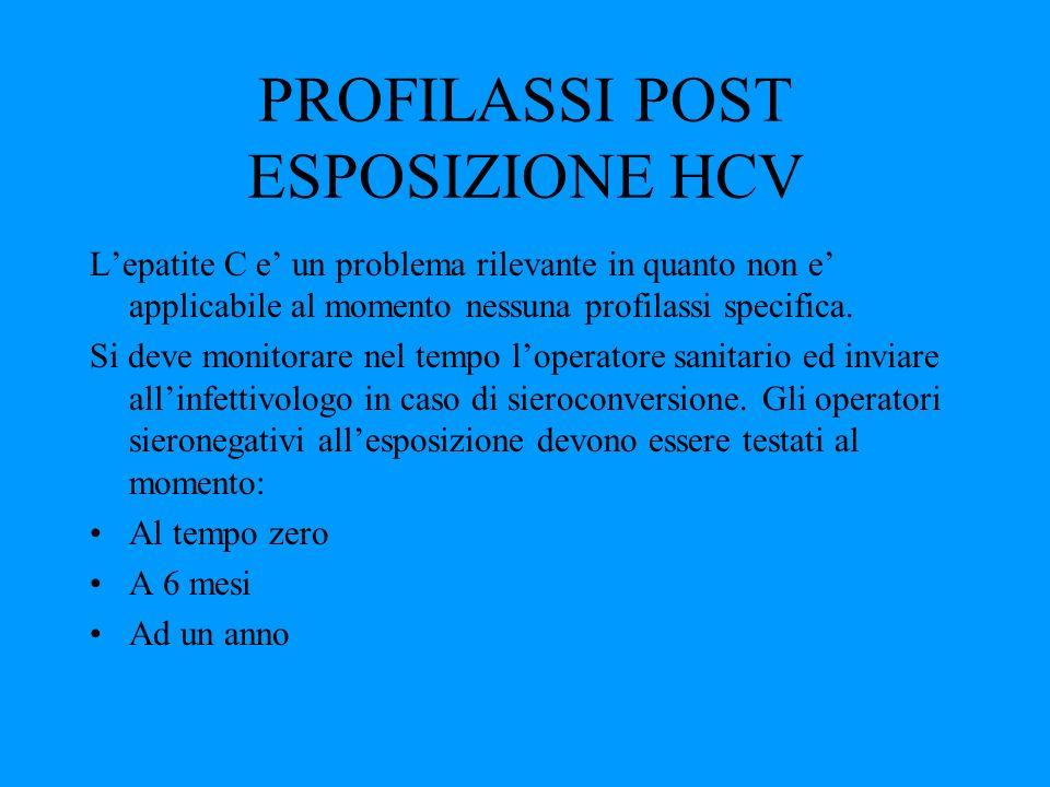 PROFILASSI POST ESPOSIZIONE HCV Lepatite C e un problema rilevante in quanto non e applicabile al momento nessuna profilassi specifica. Si deve monito