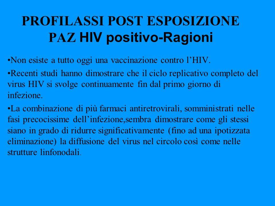 PROFILASSI POST ESPOSIZIONE PAZ HIV positivo-Ragioni Non esiste a tutto oggi una vaccinazione contro lHIV. Recenti studi hanno dimostrare che il ciclo