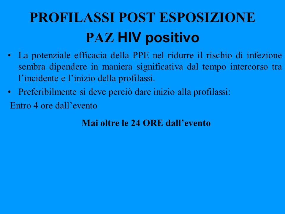 PROFILASSI POST ESPOSIZIONE PAZ HIV positivo La potenziale efficacia della PPE nel ridurre il rischio di infezione sembra dipendere in maniera signifi