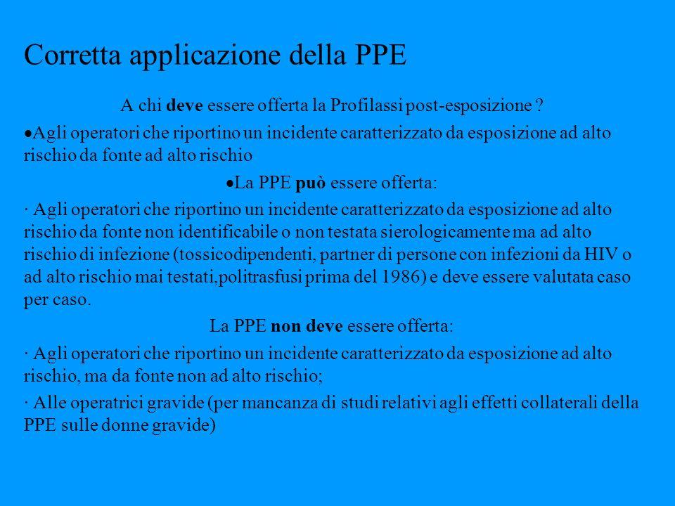 Corretta applicazione della PPE A chi deve essere offerta la Profilassi post-esposizione ? Agli operatori che riportino un incidente caratterizzato da