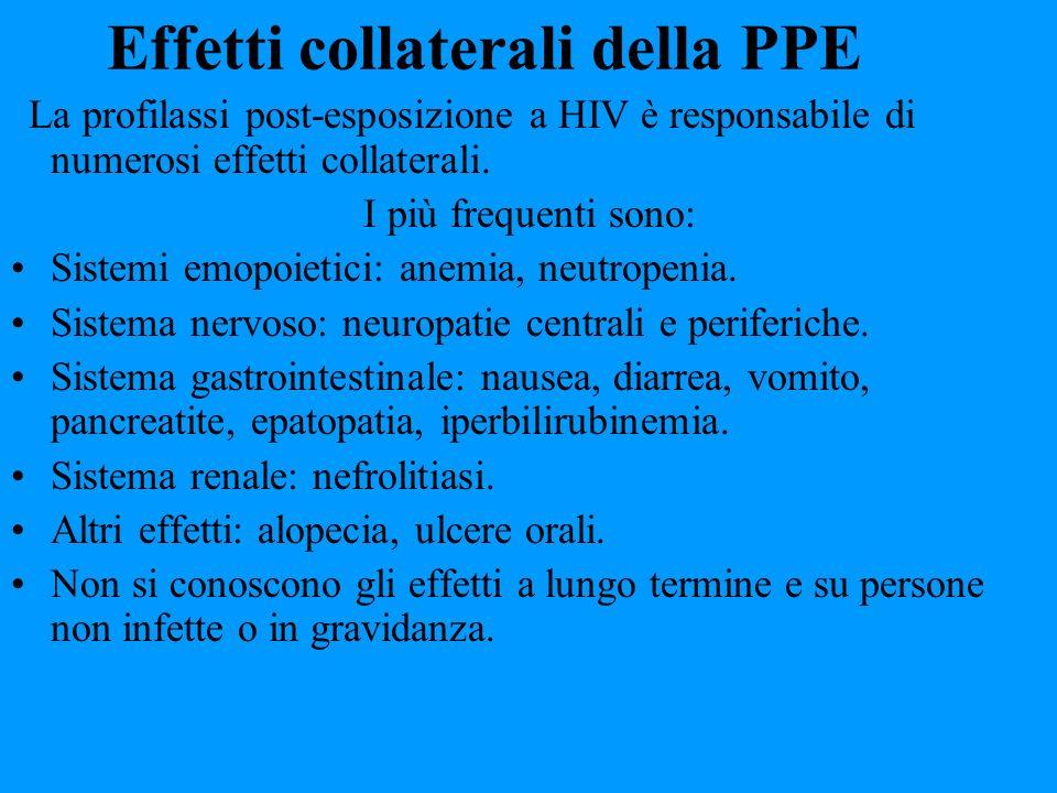 Effetti collaterali della PPE La profilassi post-esposizione a HIV è responsabile di numerosi effetti collaterali. I più frequenti sono: Sistemi emopo