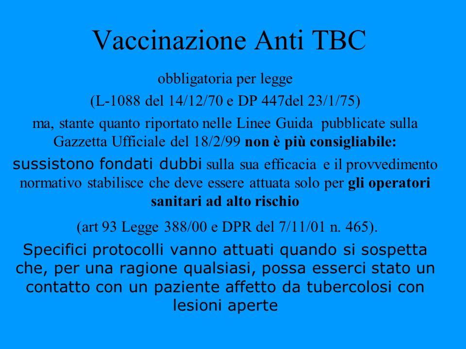Vaccinazione Anti TBC obbligatoria per legge (L-1088 del 14/12/70 e DP 447del 23/1/75) ma, stante quanto riportato nelle Linee Guida pubblicate sulla