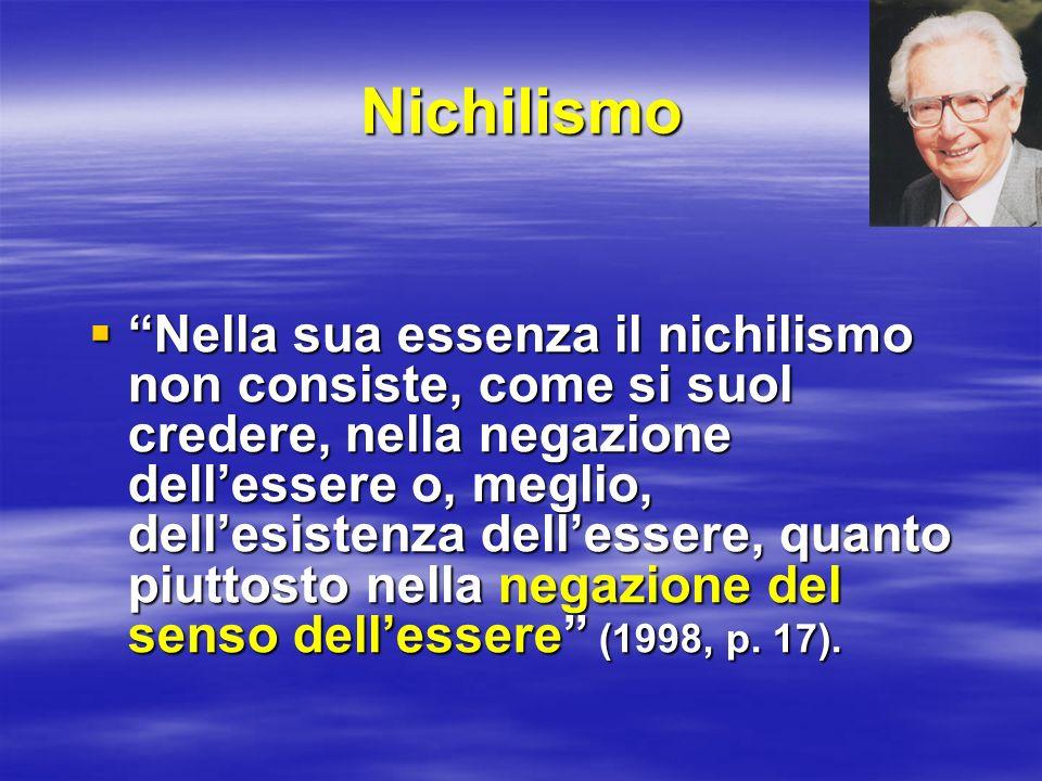 Nichilismo Nella sua essenza il nichilismo non consiste, come si suol credere, nella negazione dellessere o, meglio, dellesistenza dellessere, quanto
