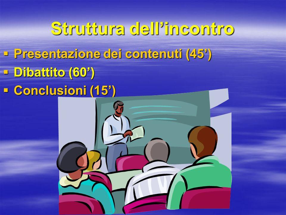 Struttura dellincontro Presentazione dei contenuti (45) Presentazione dei contenuti (45) Dibattito (60) Dibattito (60) Conclusioni (15) Conclusioni (1