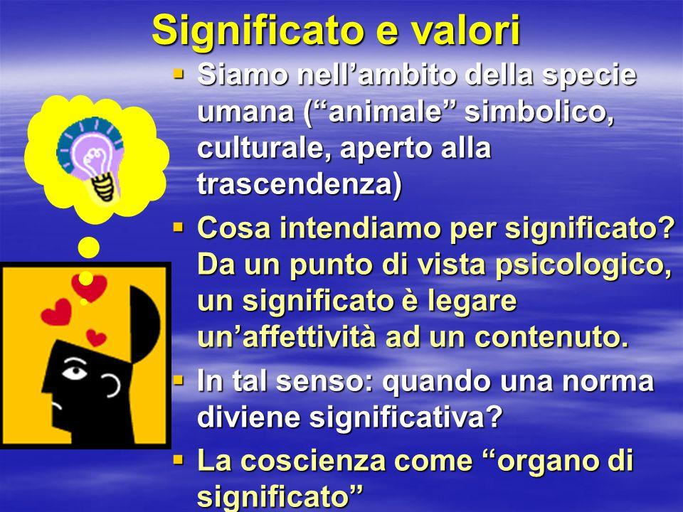 Significato e valori Siamo nellambito della specie umana (animale simbolico, culturale, aperto alla trascendenza) Siamo nellambito della specie umana