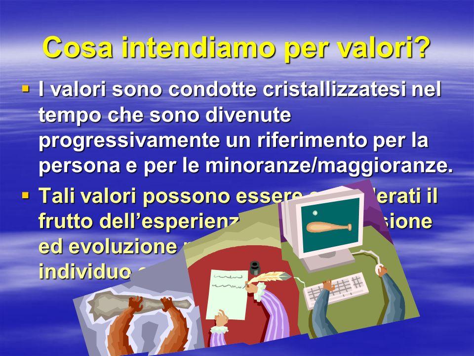 Cosa intendiamo per valori? I valori sono condotte cristallizzatesi nel tempo che sono divenute progressivamente un riferimento per la persona e per l