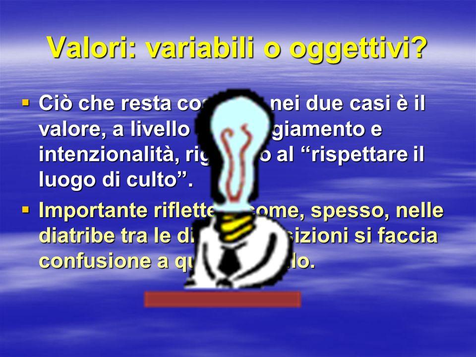 Valori: variabili o oggettivi? Ciò che resta costante nei due casi è il valore, a livello di atteggiamento e intenzionalità, riguardo al rispettare il