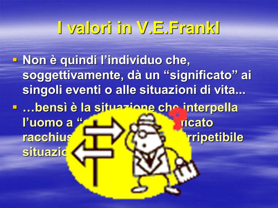 I valori in V.E.Frankl Non è quindi lindividuo che, soggettivamente, dà un significato ai singoli eventi o alle situazioni di vita... Non è quindi lin
