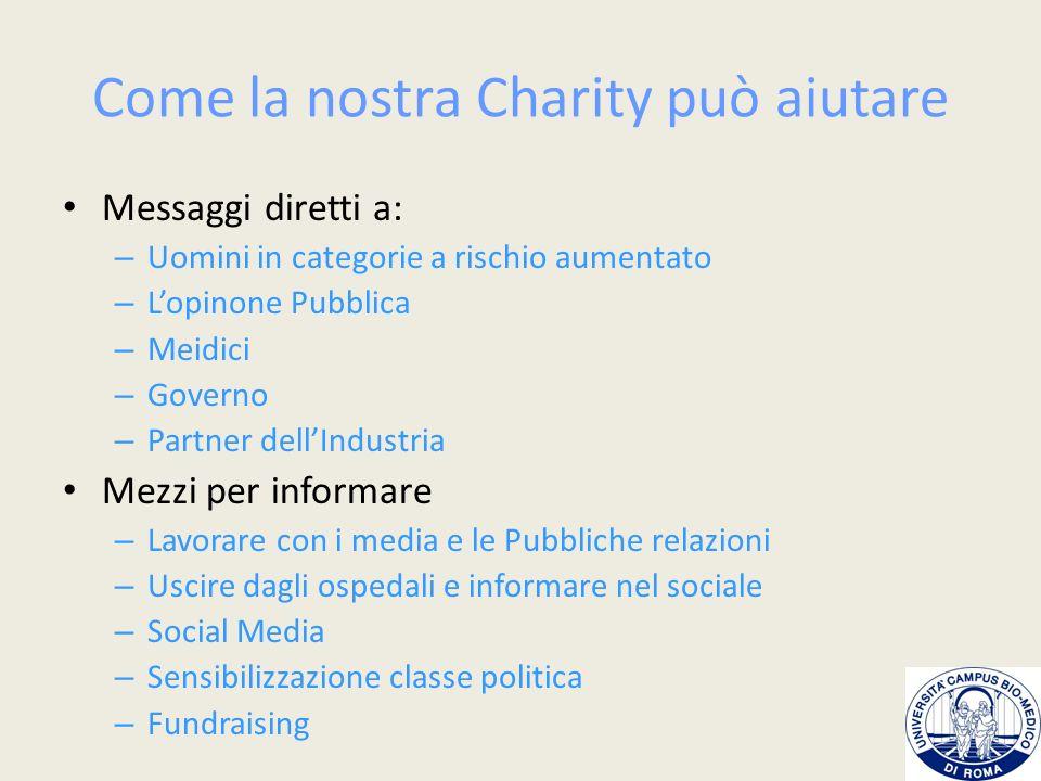 Attività della Charity Mese di Informazione e Prevenzione del Tumore della Prostata) Volontariato Fundraising Web site e pubblicazioni Media and PR Linee guida