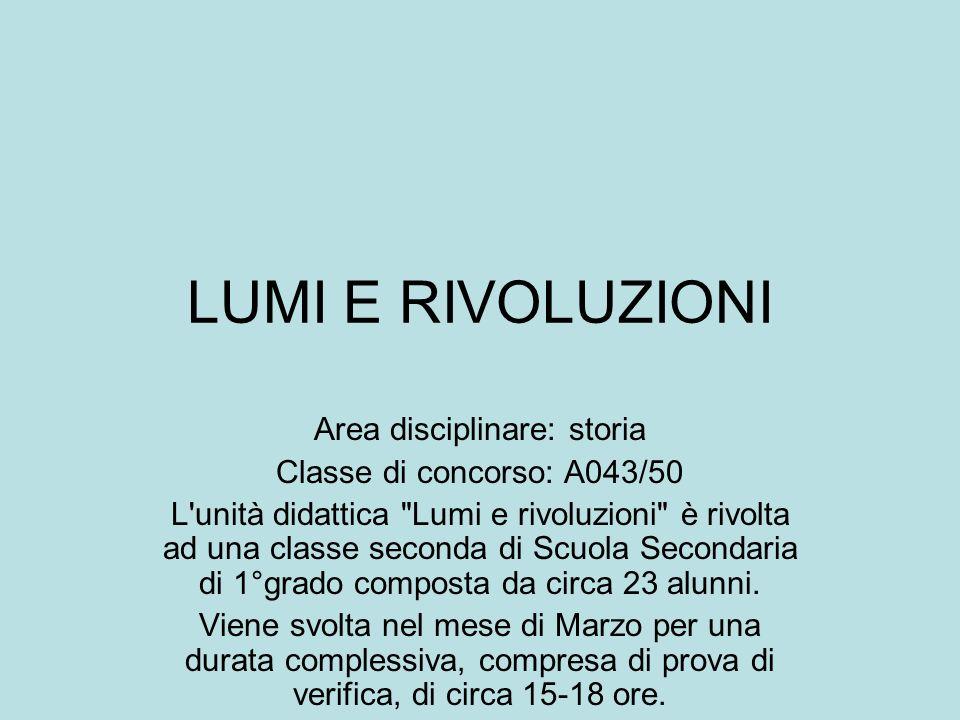 LUMI E RIVOLUZIONI Area disciplinare: storia Classe di concorso: A043/50 L'unità didattica