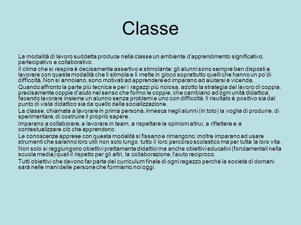 Classe La modalità di lavoro suddetta produce nella classe un ambiente d'apprendimento significativo, partecipativo e collaborativo. Il clima che si r