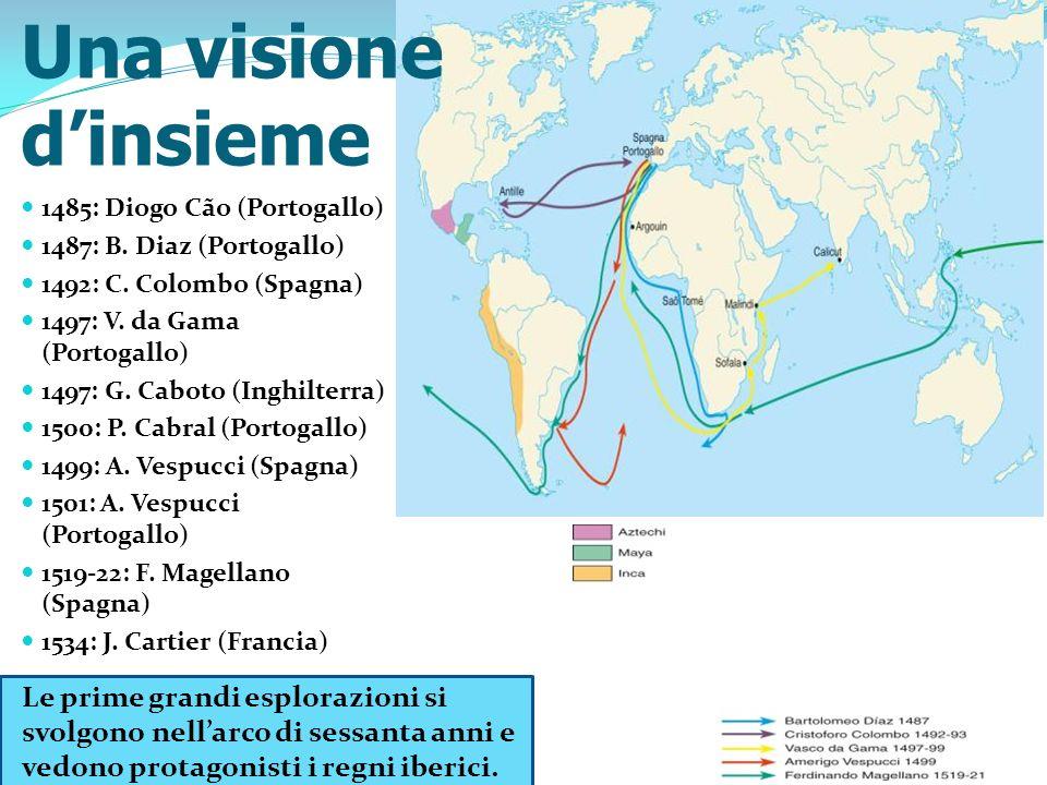 1485: Diogo Cão (Portogallo) 1487: B. Diaz (Portogallo) 1492: C. Colombo (Spagna) 1497: V. da Gama (Portogallo) 1497: G. Caboto (Inghilterra) 1500: P.