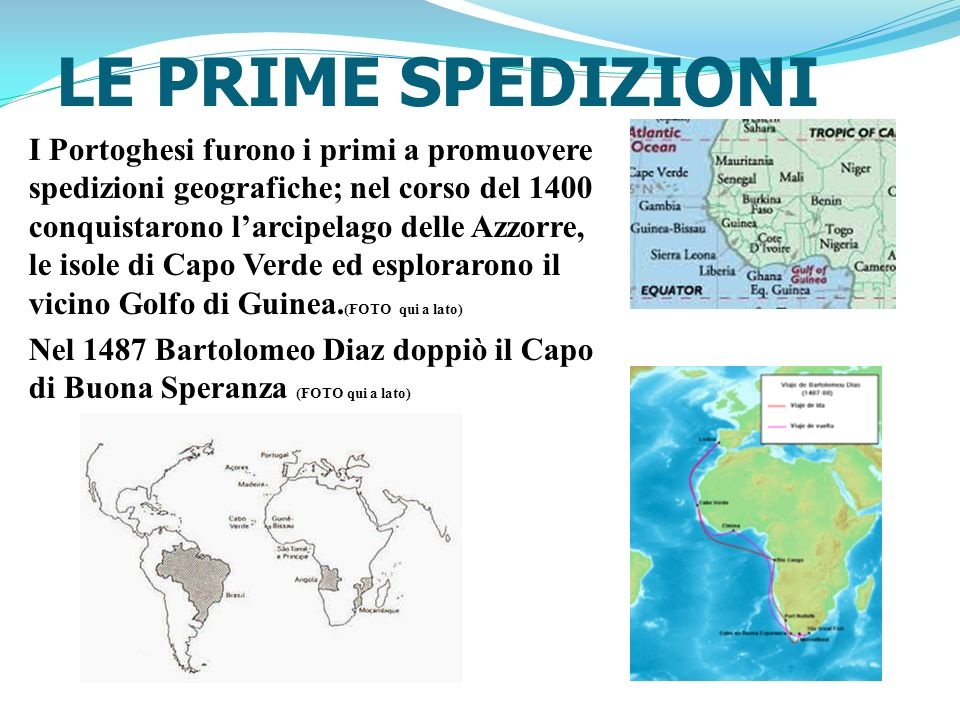 LE PRIME SPEDIZIONI I Portoghesi furono i primi a promuovere spedizioni geografiche; nel corso del 1400 conquistarono larcipelago delle Azzorre, le is