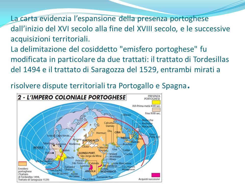 La carta evidenzia lespansione della presenza portoghese dallinizio del XVI secolo alla fine del XVIII secolo, e le successive acquisizioni territoria
