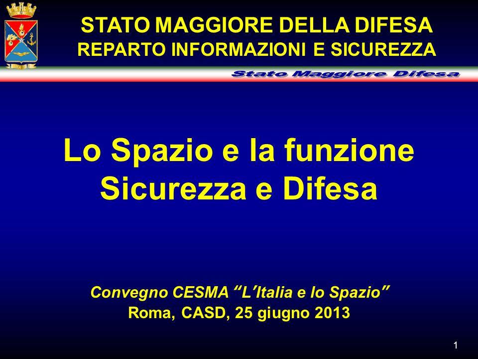 1 Lo Spazio e la funzione Sicurezza e Difesa Convegno CESMA LItalia e lo Spazio Roma, CASD, 25 giugno 2013 STATO MAGGIORE DELLA DIFESA REPARTO INFORMA
