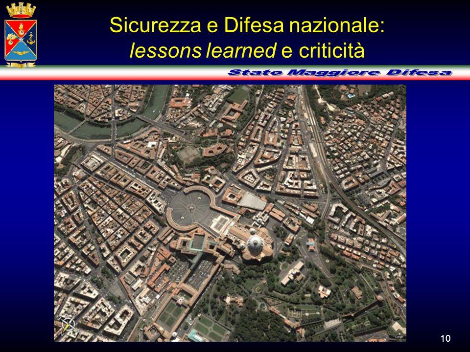 Sicurezza e Difesa nazionale: lessons learned e criticità 10
