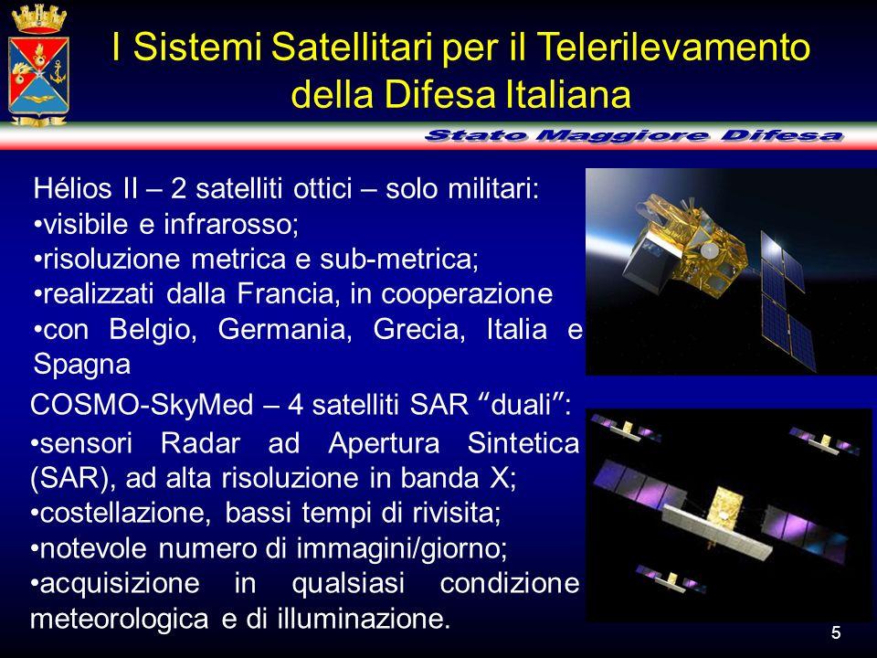 Hélios II – 2 satelliti ottici – solo militari: visibile e infrarosso; risoluzione metrica e sub-metrica; realizzati dalla Francia, in cooperazione co