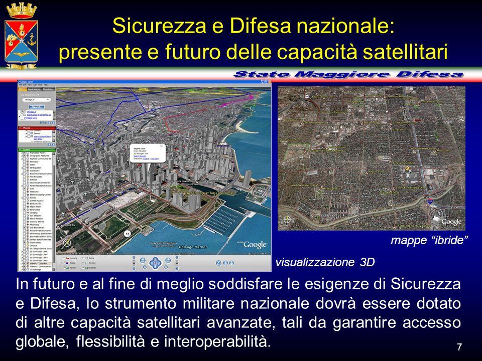 Sicurezza e Difesa nazionale: presente e futuro delle capacità satellitari mappe ibride visualizzazione 3D In futuro e al fine di meglio soddisfare le
