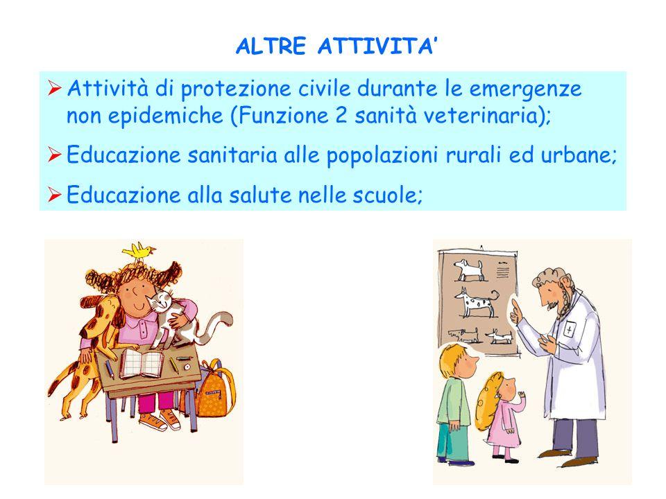 ALTRE ATTIVITA Attività di protezione civile durante le emergenze non epidemiche (Funzione 2 sanità veterinaria); Educazione sanitaria alle popolazion