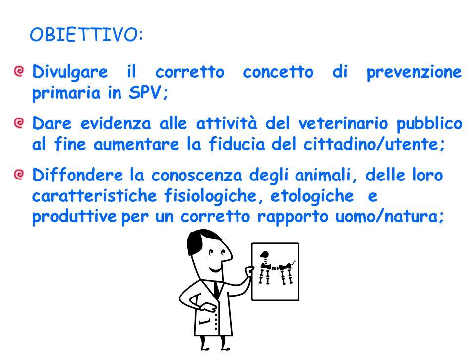 OBIETTIVO: Divulgare il corretto concetto di prevenzione primaria in SPV; Dare evidenza alle attività del veterinario pubblico al fine aumentare la fi