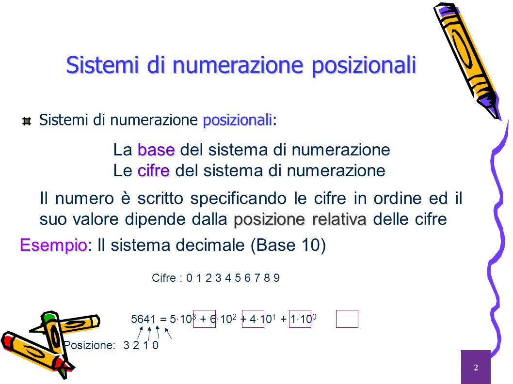 3 Il sistema binario La base 2 è la più piccola per un sistema di numerazione bitbinary digit Cifre: 0 1 bit (binary digit) Esempi Esempi: (101101) 2 = 1 2 5 + 0 2 4 + 1 2 3 + 1 2 2 + 0 2 1 + 1 2 0 = 32 + 0 + 8 + 4 + 0 + 1 = (45) 10 (0,0101) 2 = 0 2 1 + 1 2 2 + 0 2 3 + 1 2 4 = 0 + 0,25 + 0 + 0,0625 = (0,3125) 10 (11,101) 2 = 1 2 1 + 1 2 0 + 1 2 1 + 0 2 2 + 1 2 3 = 2 + 1 + 0,5 + 0 + 0,125 = (3,625) 10 Formapolinomia