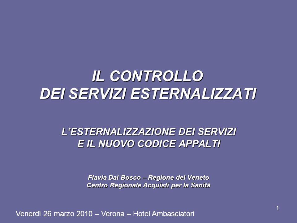 IL CONTROLLO DEI SERVIZI ESTERNALIZZATI LESTERNALIZZAZIONE DEI SERVIZI E IL NUOVO CODICE APPALTI Flavia Dal Bosco – Regione del Veneto Centro Regional