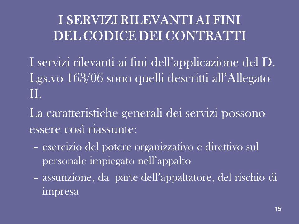 I SERVIZI RILEVANTI AI FINI DEL CODICE DEI CONTRATTI I servizi rilevanti ai fini dellapplicazione del D. Lgs.vo 163/06 sono quelli descritti allAllega