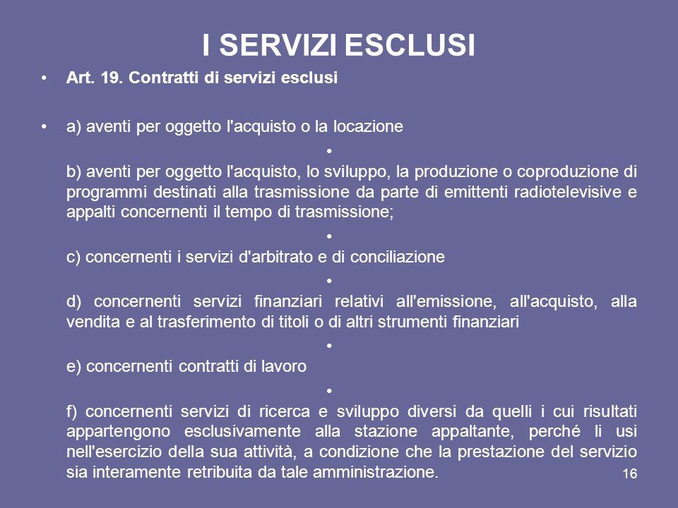 I SERVIZI ESCLUSI Art. 19. Contratti di servizi esclusi a) aventi per oggetto l'acquisto o la locazione b) aventi per oggetto l'acquisto, lo sviluppo,