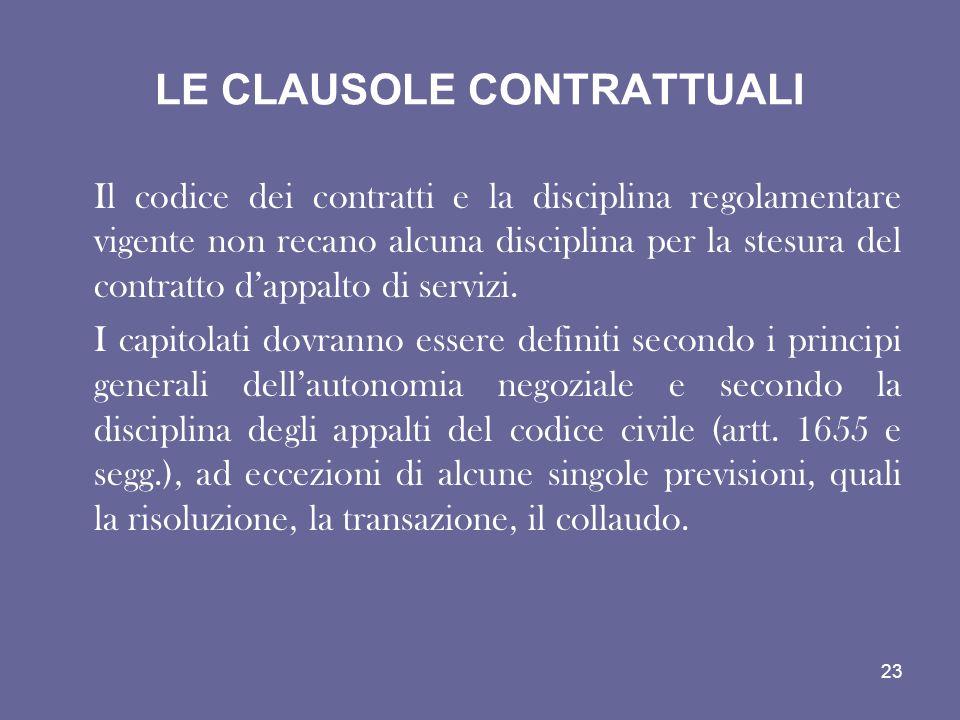LE CLAUSOLE CONTRATTUALI Il codice dei contratti e la disciplina regolamentare vigente non recano alcuna disciplina per la stesura del contratto dappa