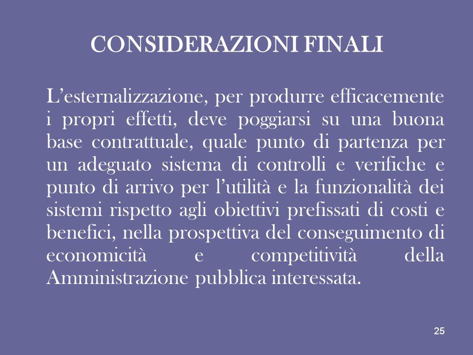 CONSIDERAZIONI FINALI Lesternalizzazione, per produrre efficacemente i propri effetti, deve poggiarsi su una buona base contrattuale, quale punto di p