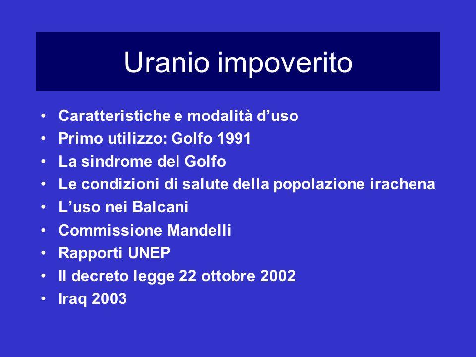 Uranio impoverito Caratteristiche e modalità duso Primo utilizzo: Golfo 1991 La sindrome del Golfo Le condizioni di salute della popolazione irachena