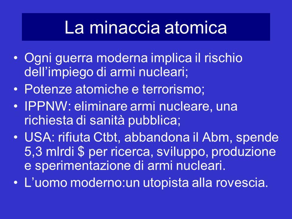 La minaccia atomica Ogni guerra moderna implica il rischio dellimpiego di armi nucleari; Potenze atomiche e terrorismo; IPPNW: eliminare armi nucleare
