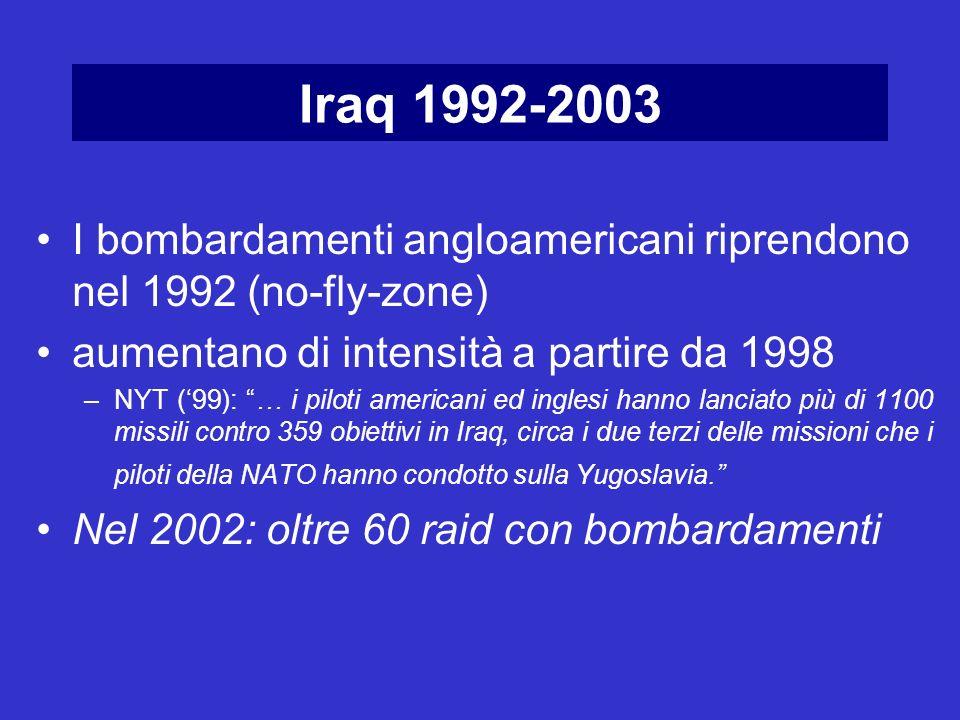 I bombardamenti angloamericani riprendono nel 1992 (no-fly-zone) aumentano di intensità a partire da 1998 –NYT (99): … i piloti americani ed inglesi h