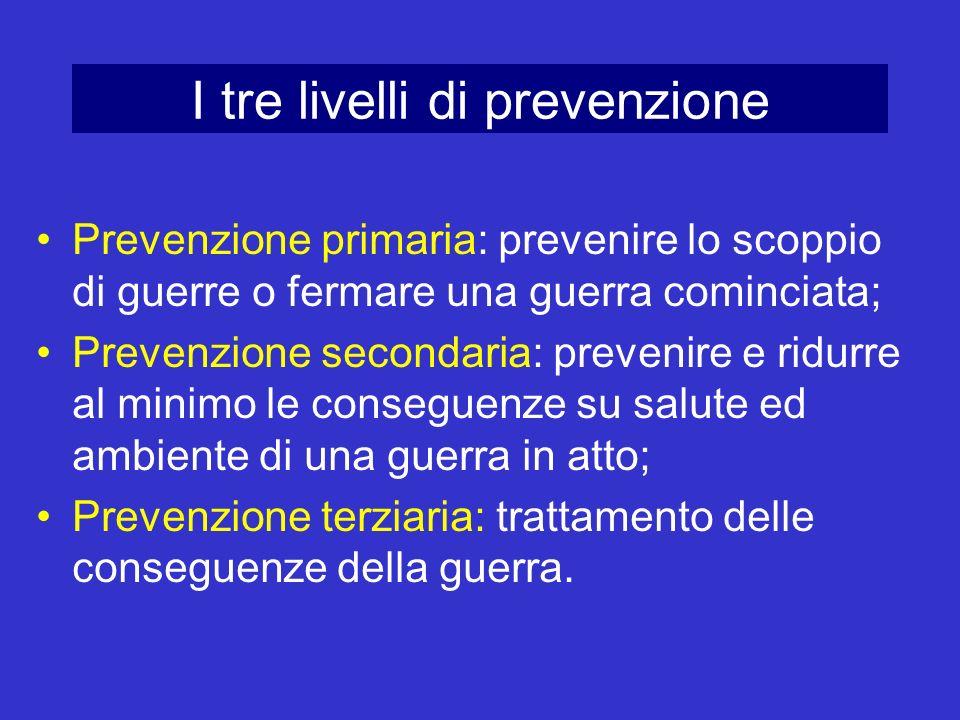 I tre livelli di prevenzione Prevenzione primaria: prevenire lo scoppio di guerre o fermare una guerra cominciata; Prevenzione secondaria: prevenire e