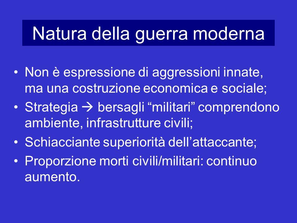 Natura della guerra moderna Non è espressione di aggressioni innate, ma una costruzione economica e sociale; Strategia bersagli militari comprendono a