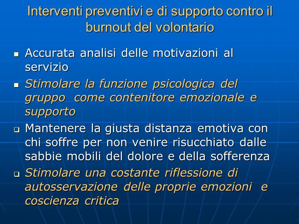 Interventi preventivi e di supporto contro il burnout del volontario Accurata analisi delle motivazioni al servizio Accurata analisi delle motivazioni
